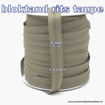 blok tand rits taupe