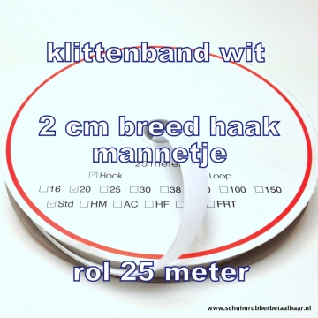 klittenband  wit 2 cm breed  haak