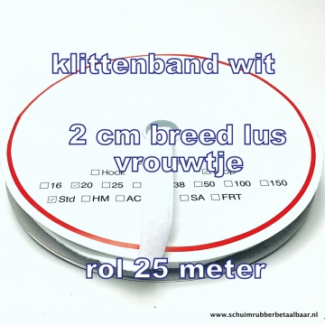 klittenband wit 2 cm breed lus