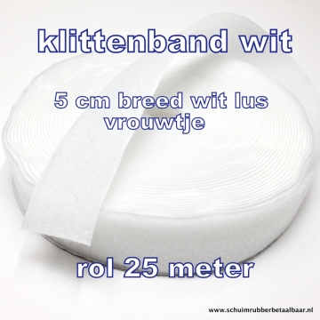 klittenband 5 cm breed wit lus