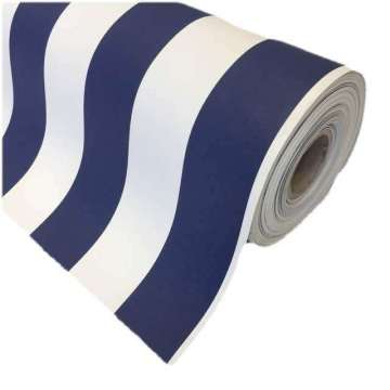 Kunstleer marine navy stripe 140 cm breed
