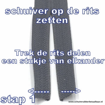Rol rits 10 meter plus 20 schuivers wit