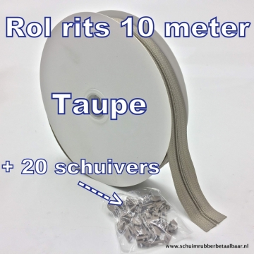 Rol rits 10 meter + 20 schuivers Taupe