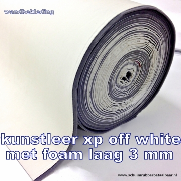 Kunstleer met foam laag xp off white 140 cm breed
