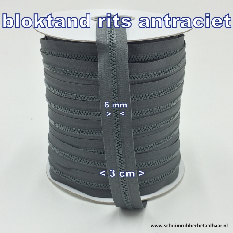 Blok tand rits antraciet
