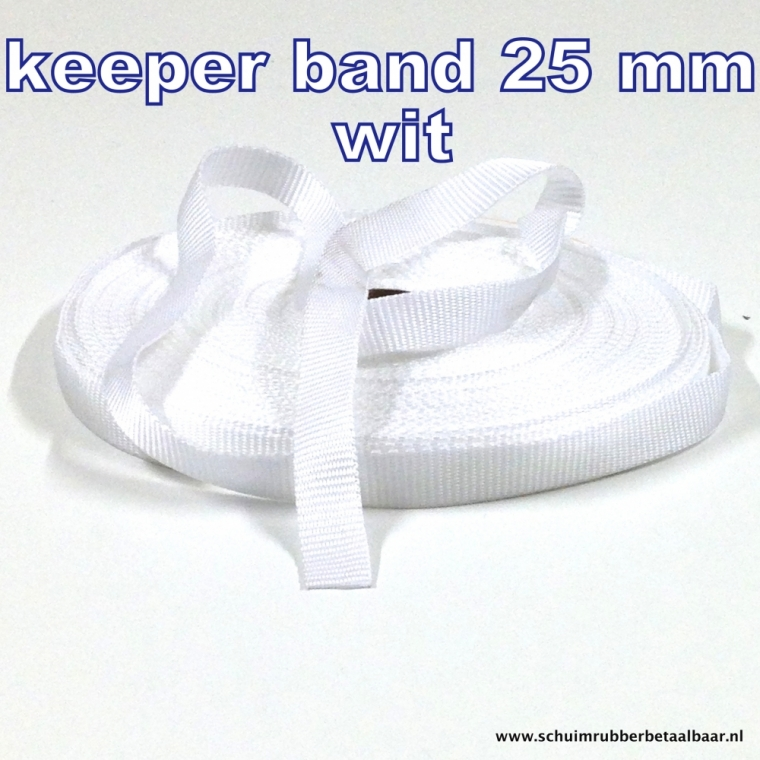 Keeper band 25 mm kleur wit.